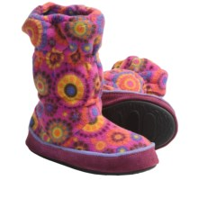 Acorn Roxie Boot Slippers - Fleece (For Girls) in Pink Dots - Closeouts