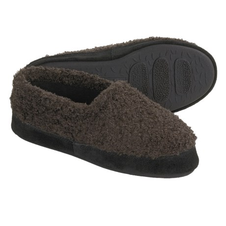 Acorn Shaggy Tex Moc Slippers (For Women) in Olive