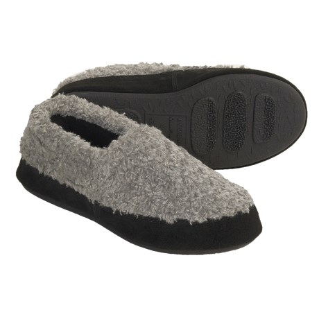 Acorn Shaggy Tex Moc Slippers (For Women) in Grey