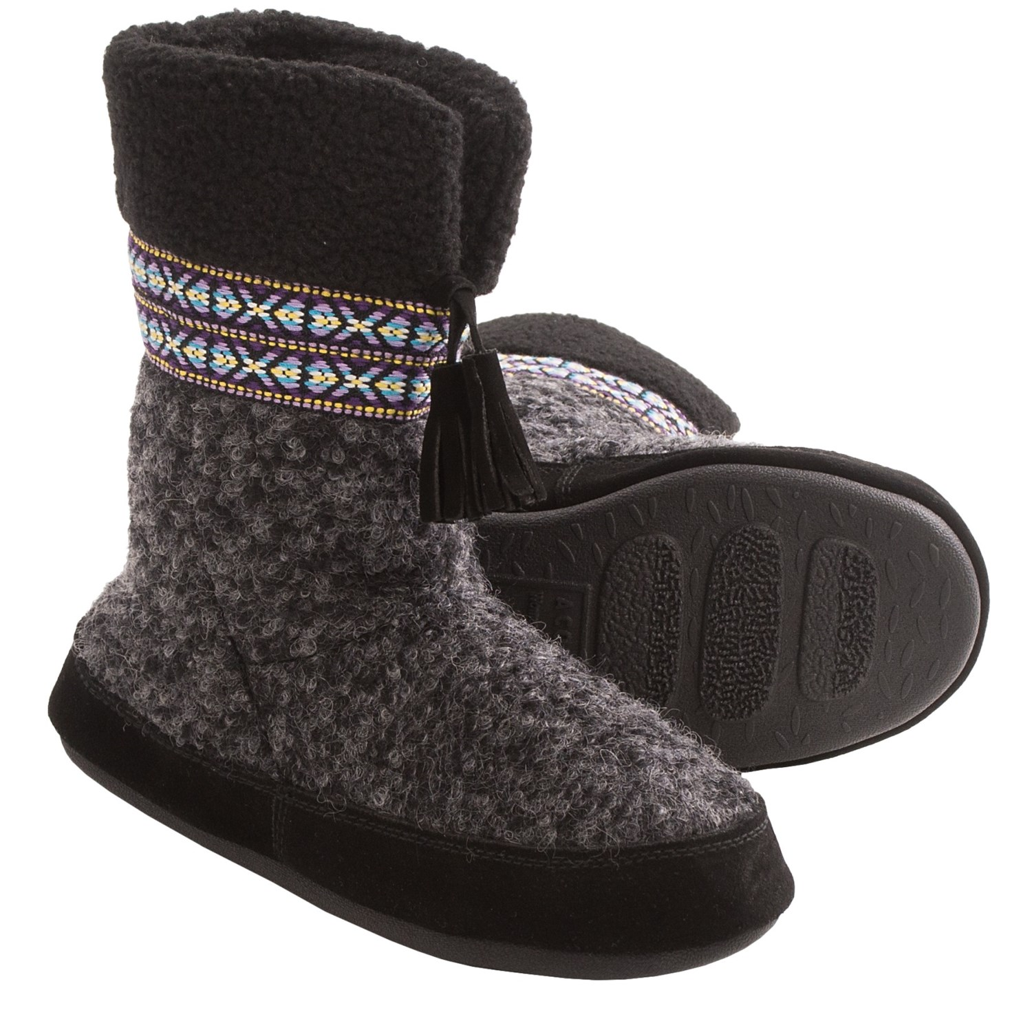 Acorn snowline boot slippers wool blend for women in black