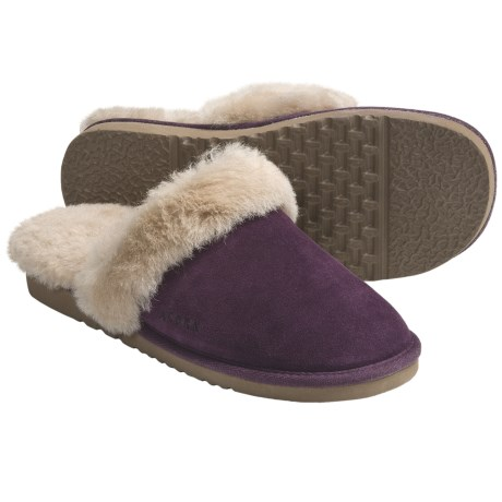 Acorn Spa Slip-Inn Slippers - Australian Sheepskin (For Women) in Plum