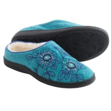 Acorn Talara Mule Slippers - Boiled Wool, Berber Fleece Lined (For Women) in Cerulean - Closeouts