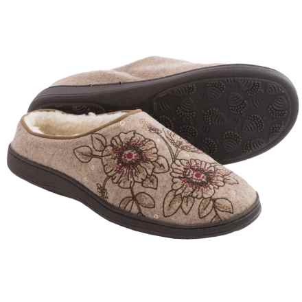 Acorn Talara Mule Slippers - Boiled Wool, Berber Fleece Lined (For Women) in Sand - Closeouts