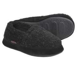Acorn Tex Moc Slippers - Berber Fleece (For Boys) in Black Berber