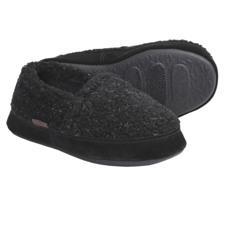 Acorn Tex Moc Slippers - Berber Fleece (For Boys) in Mushroom