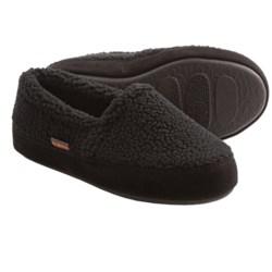 Acorn Tex Moc Slippers - Berber Fleece (For Boys) in Black