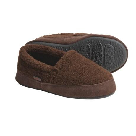 Acorn Tex Moc Slippers - Berber Fleece (For Boys) in Black Berber