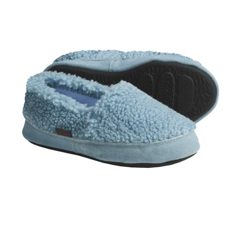 Acorn Tex Moc Slippers - Berber Fleece (For Girls) in Powder Blue