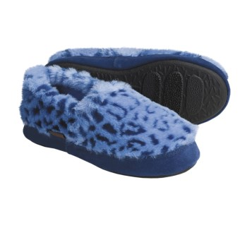 Acorn Tex Moc Slippers (For Girls) in Blue Ocelot