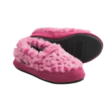 Acorn Tex Moc Slippers (For Girls) in Pink Ocelot