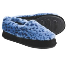 Acorn Textured Moc Slippers - Fleece (For Women) in Blue Ocelot - Closeouts