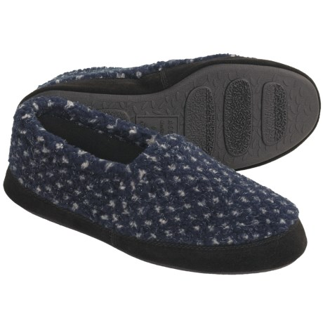 Acorn Textured Moc Slippers - Fleece Lining (For Men) in Navy Snow