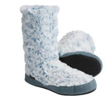 Acorn Textured Multi-Colored Bootie Slippers (For Girls) in Aqua Frost - Closeouts