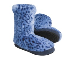 Acorn Textured Multi-Colored Bootie Slippers (For Girls) in Blue Ocelot - Closeouts
