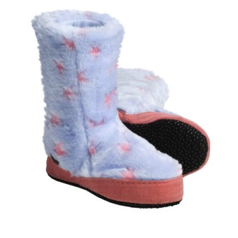 Acorn Textured Multi-Colored Bootie Slippers (For Girls) in Blue Stars