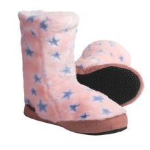Acorn Textured Multi-Colored Bootie Slippers (For Girls) in Pink Stars - Closeouts
