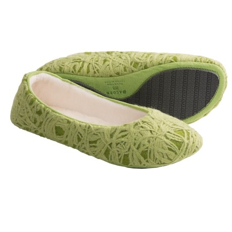 Acorn Vega Ballerina Slippers - Wool Blend (For Women) in New Leaf