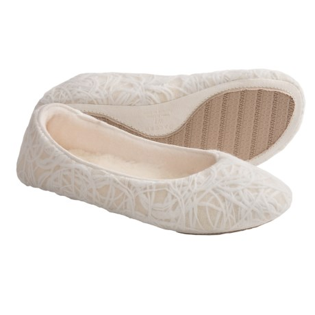 Acorn Vega Ballerina Slippers - Wool Blend (For Women) in Winter White