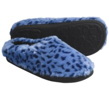 Acorn Velvet Mule Slippers - Slip-Ons (For Women) in Blue Ocelot - Closeouts
