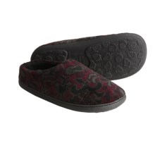 Acorn Velvet Mule Slippers - Slip-Ons (For Women) in Burgundy Tapestry - Closeouts