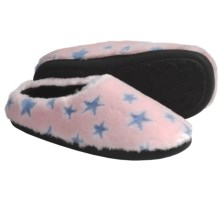 Acorn Velvet Mule Slippers - Slip-Ons (For Women) in Pink Stars - Closeouts
