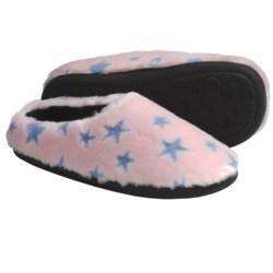 Acorn Velvet Mule Slippers - Slip-Ons (For Women) in Pink Stars