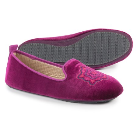 Acorn Velvet Smoking Slippers (For Women) in Plum Velvet