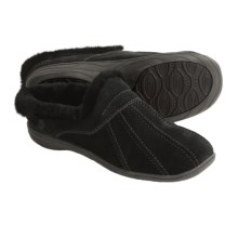 Acorn Vesta Suede Mule Slippers - Sheepskin Lining (For Women) in Black - Closeouts