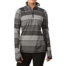 Active Pullover Shirt - Zip Neck, Long Sleeve (For Women) in Black Stripe - 2nds