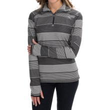Active Pullover Shirt - Zip Neck, Long Sleeve (For Women) in Black/White Print - 2nds