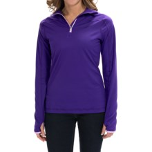 Active Pullover Shirt - Zip Neck, Long Sleeve (For Women) in Vibrant Concord - 2nds