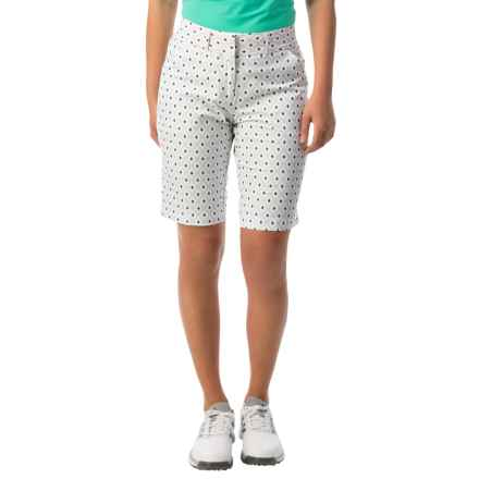 Active Solid Shorts (For Women) in White/Light Green Print - 2nds