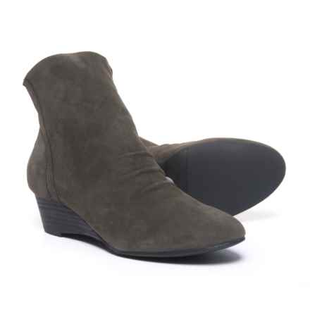 Adam Tucker by Me Too Montana Slouchy Wedge Ankle Boots - Leather (For Women) in Charcoal Suede - Closeouts