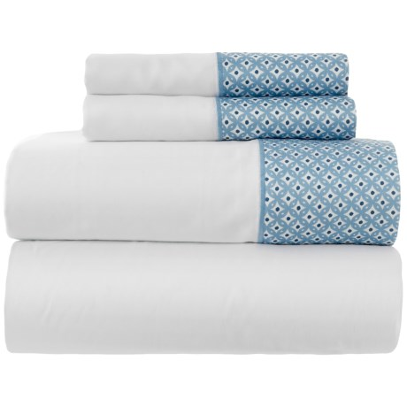 Image of Adara Cotton Blue Printed Sheet Set - King, 400 TC