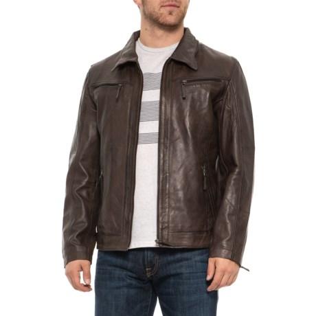 Image of Adel Brown Leather Jacket (For Men)