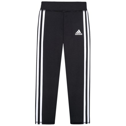 adidas 3-Stripe Leggings (For Little Girls) in Black W White - 26497c55241e