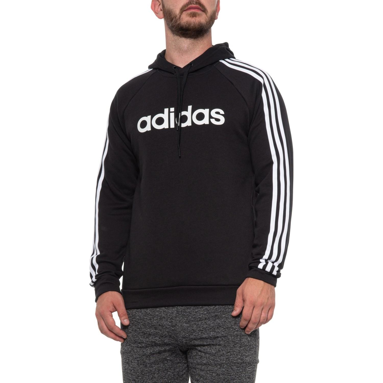 adidas 3 Stripe Linear Fleece Hoodie (For Men) Save 25%