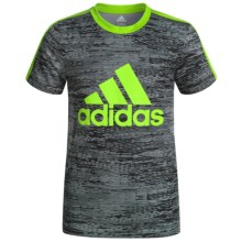 adidas 3 Stripe T-Shirt - Short Sleeve (For Big Boys) in Black/Green - Closeouts
