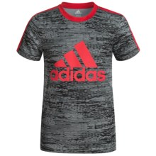 adidas 3 Stripe T-Shirt - Short Sleeve (For Big Boys) in Black/Scarlet Red - Closeouts