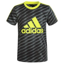 adidas 3 Stripe T-Shirt - Short Sleeve (For Big Boys) in Black/Solar Slime - Closeouts