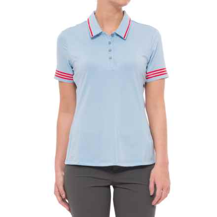 adidas 3-Stripes Tipped Polo Shirt - UPF 50, Short Sleeve (For Women) in Easy Blue - Closeouts