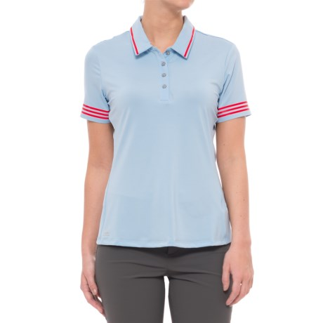 adidas 3-Stripes Tipped Polo Shirt - UPF 50, Short Sleeve (For Women) in Easy Blue