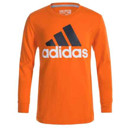 adidas 30S Adi Logo T-Shirt - Long Sleeve (For Big Boys) in Unity Orange/Granite - Closeouts
