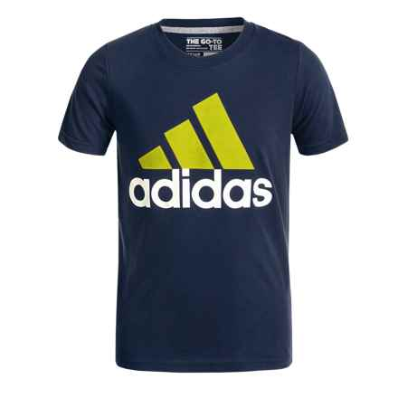 adidas 30S Adi Logo T-Shirt - Short Sleeve (For Big Boys) in Collegiate Navy/Shock Slime - Closeouts
