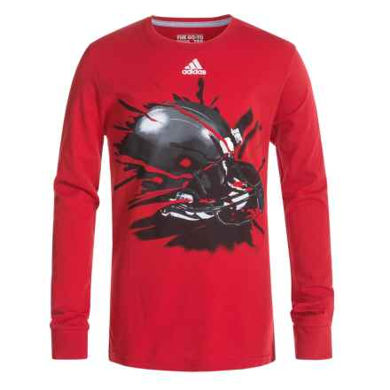 adidas 30S Breakthrough T-Shirt - Long Sleeve (For Big Boys) in Light Scarlet/Black - Closeouts