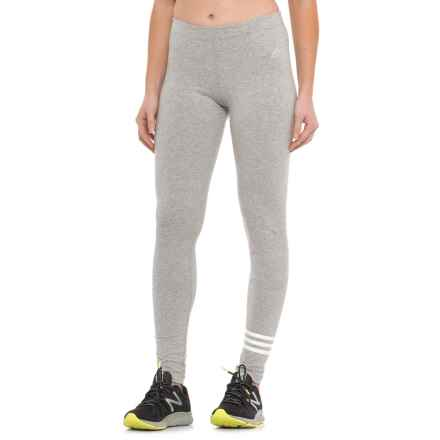 adidas 3S Cotton Leggings (For Women) in Medium Grey Heather - Closeouts