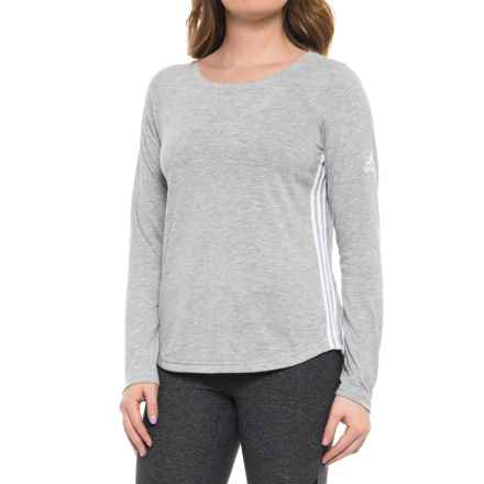 adidas 3S Shirt - Long Sleeve (For Women) in Medium Grey Heather - Closeouts