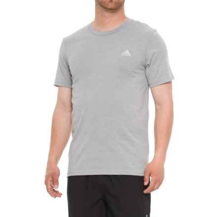adidas 60/40 T-Shirt - Short Sleeve (For Men) in Medium Grey Heather/Metallic Silver - Closeouts