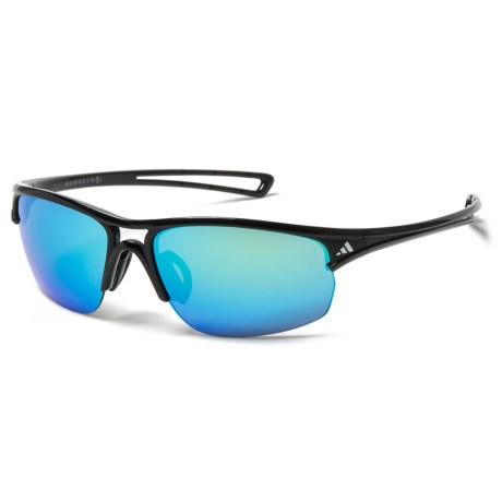 5bda4fcac71 adidas A405 Raylor S Sport Sunglasses in Shiny Black Blue Mirror