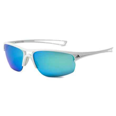 adidas A405 Raylor S Sport Sunglasses in Shiny White/ Blue Mirror - Closeouts
